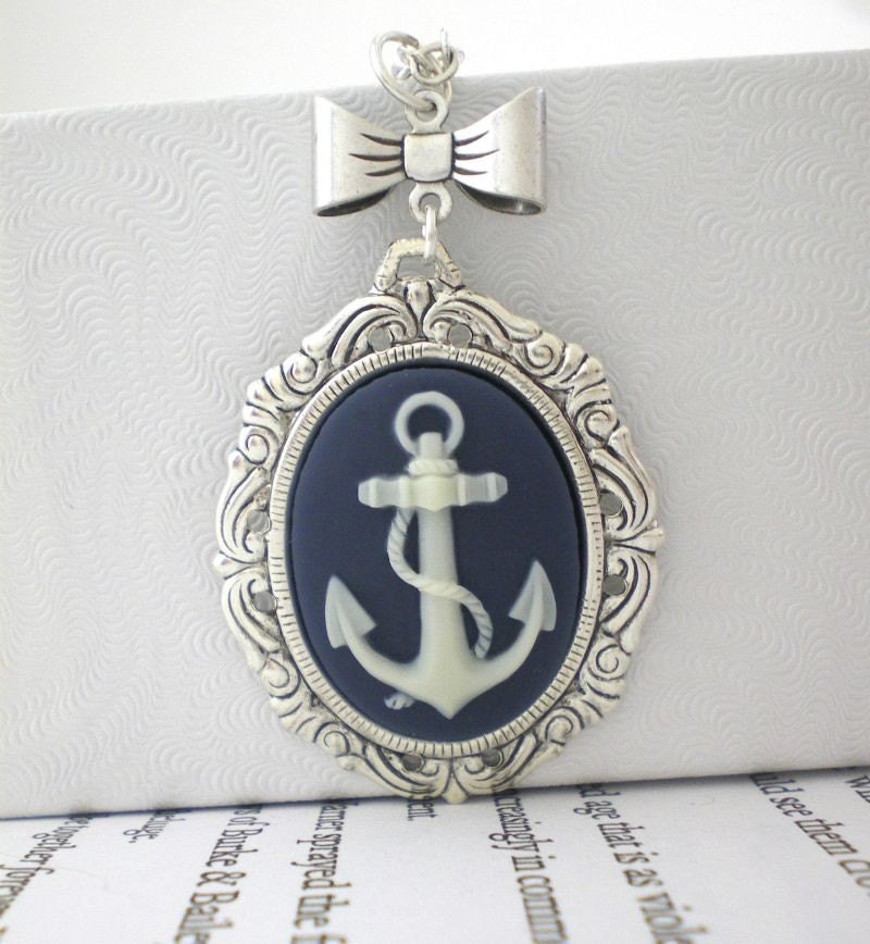 Anchor Necklace. Bow Necklace. Cameo Jewelry. Navy Blue and Ivory. Navy Wife. Marine Wife.  Exclusive Original Design by My Sweet November.