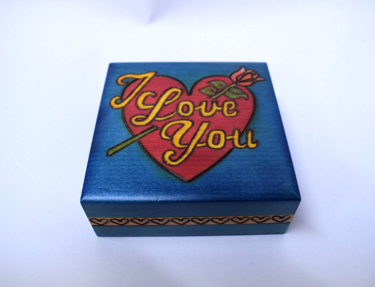 Handmade wooden box  Valentines box  Jewellery box I love you Box with rose Trinket Box Box for Her Box with flower Box with Heart