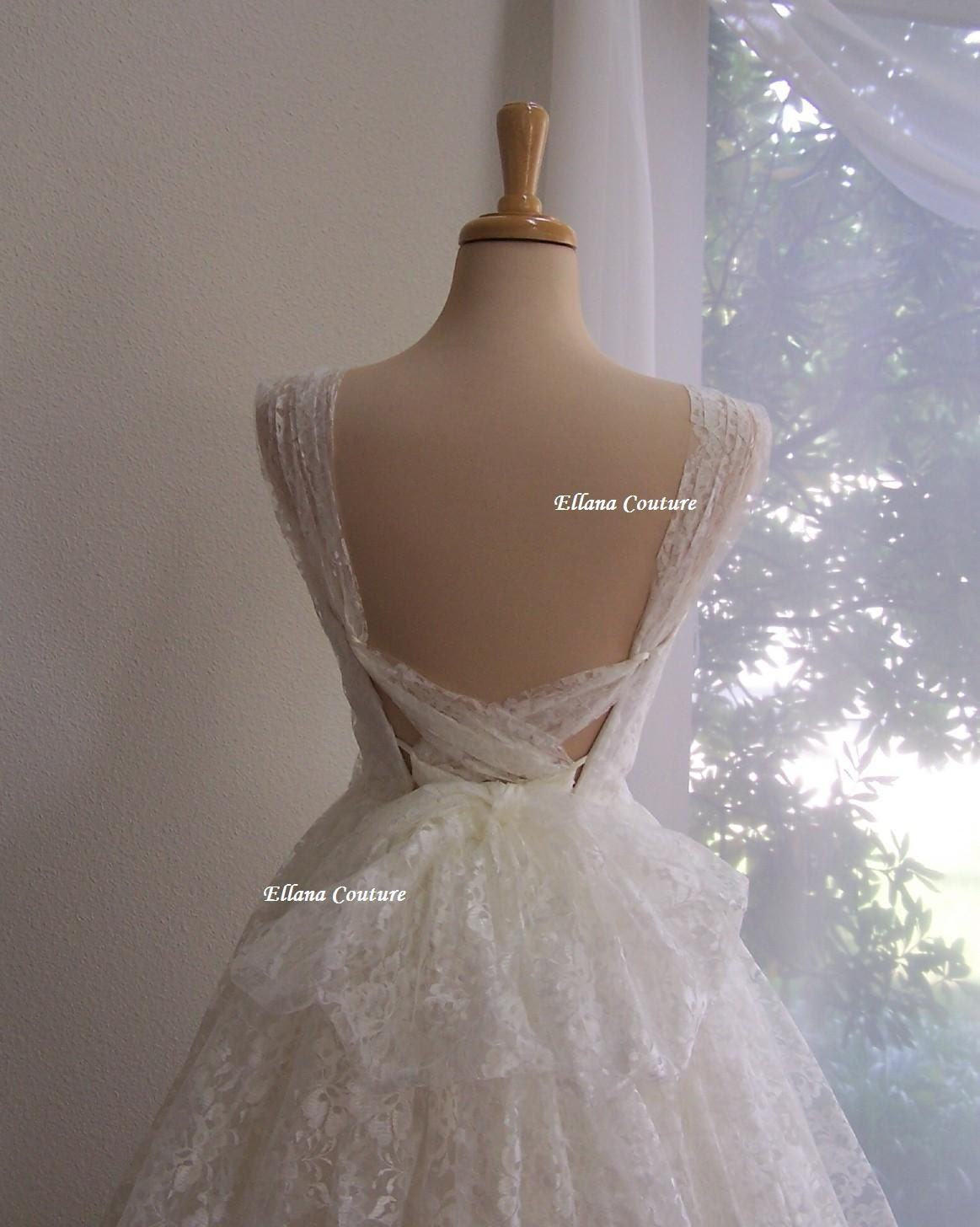 Iris Retro Style Bridal Gown Ivory Lace Tea By EllanaCouture