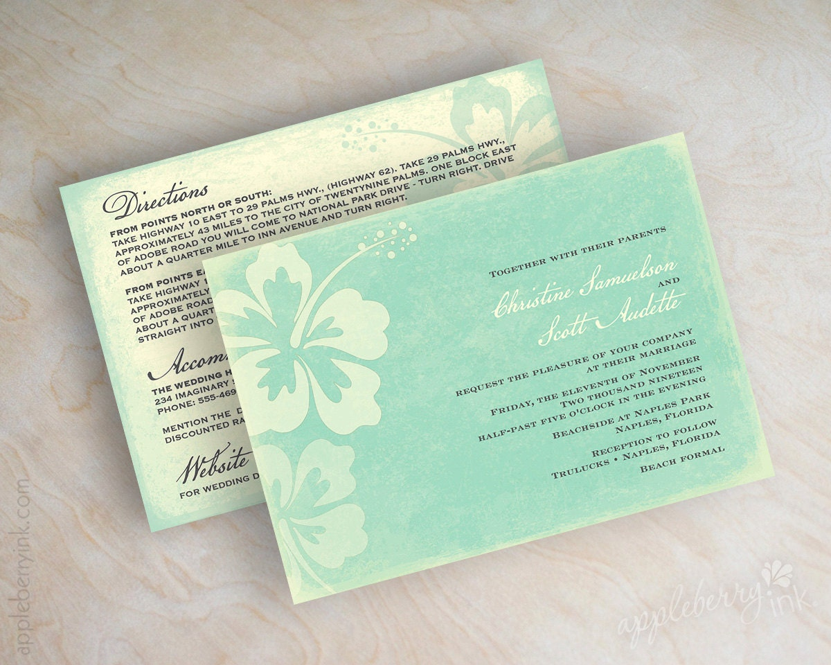 Destination Wedding Invitation Beach Wedding By Appleberryink