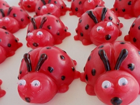 10 ladybug party favors soap baby shower favor birthday party favor
