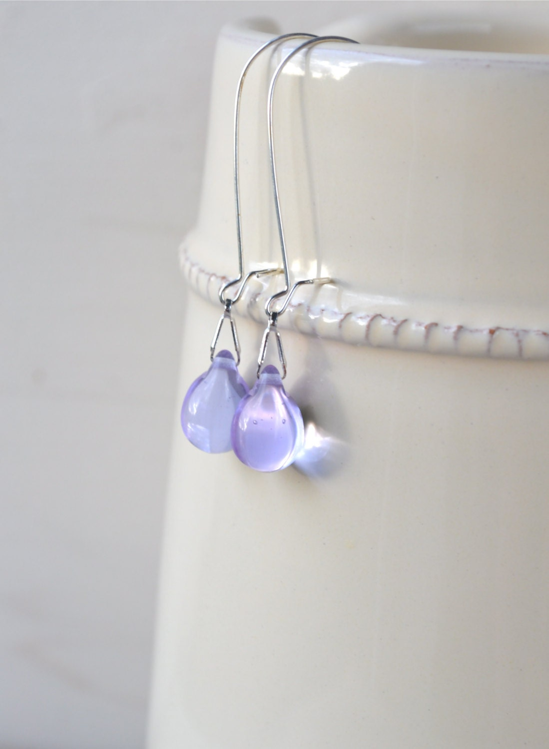 Lavender Earrings, Pale Violet Earrings, Delicate Jewelry, Lavender Wedding, Pale Purple Long Dangle Earrings, Bridesmaid Gift, Etsy UK - Phoebedreams