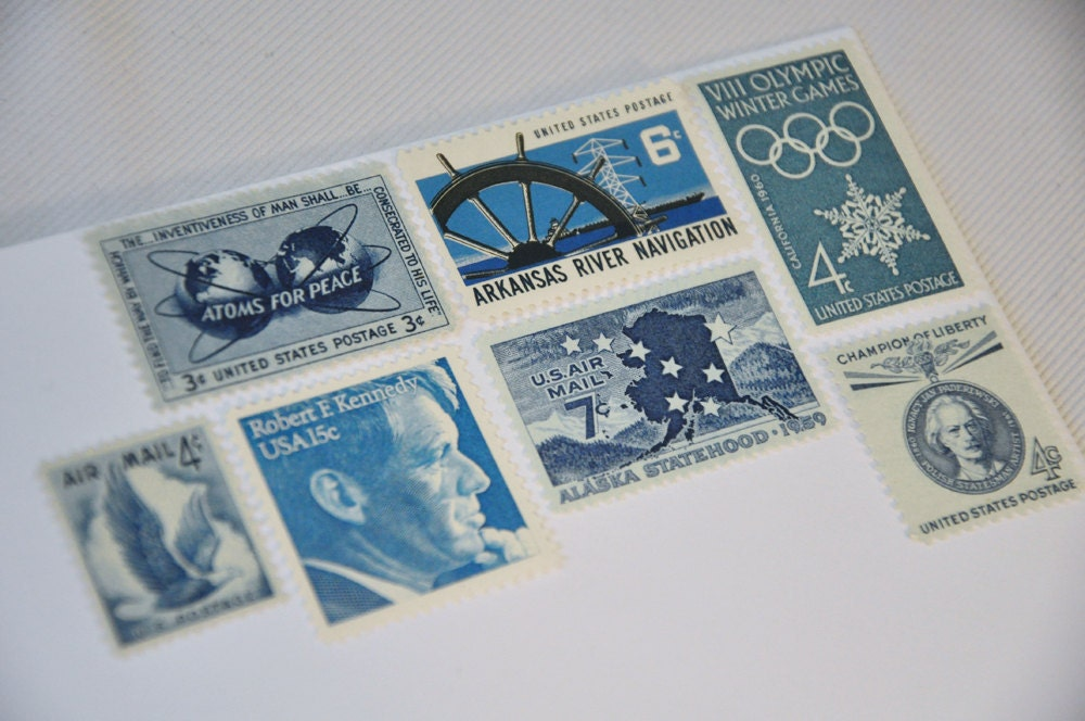 One Set of Vintage Postage Stamps - Blue / Indigo / Teal / Navy / Cyan - mail one letter