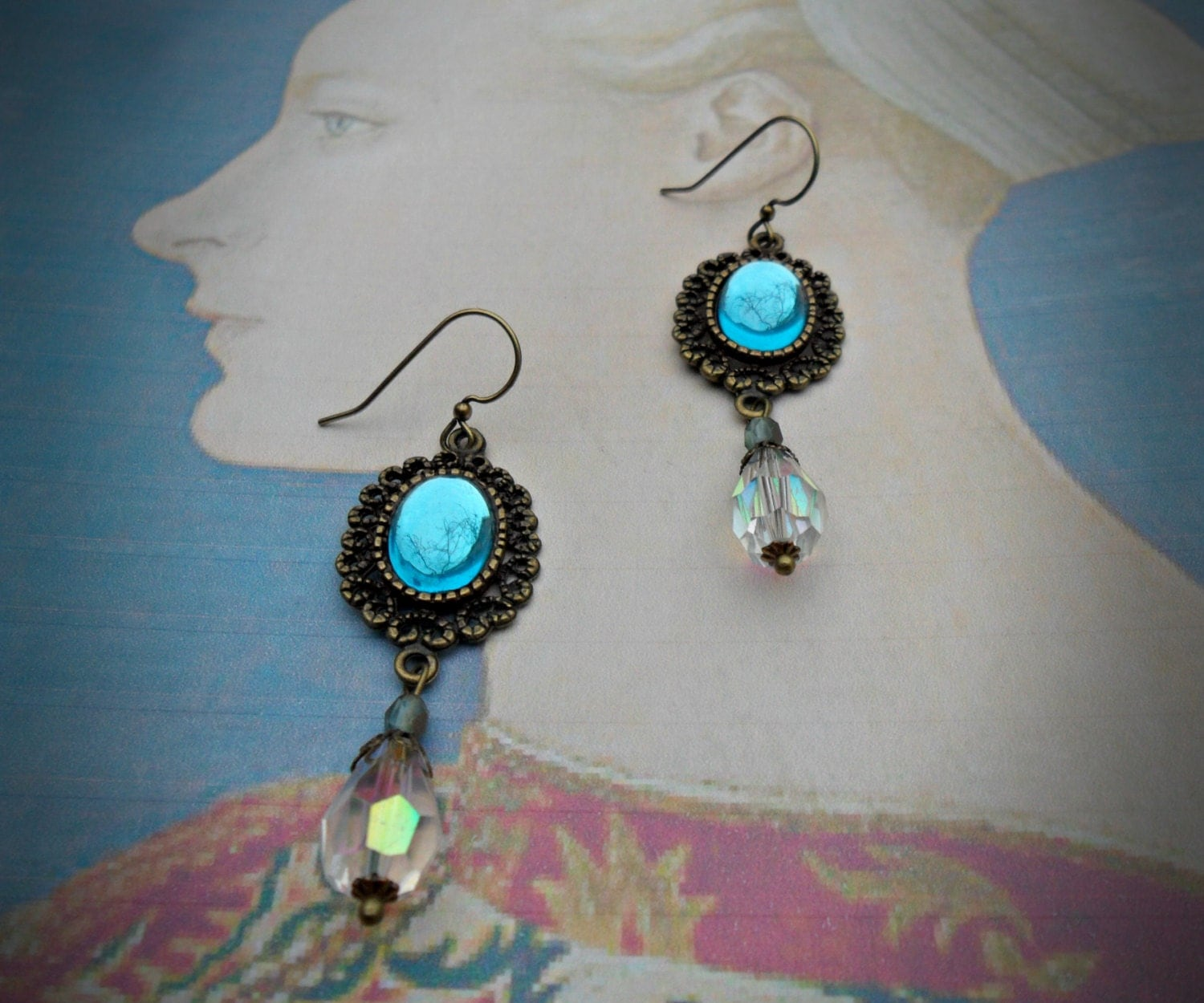 Victorian style earrings with aqua blue foiled glass cabochons AB Czech crystal beads antiqued brass elegant earrings classic earrings