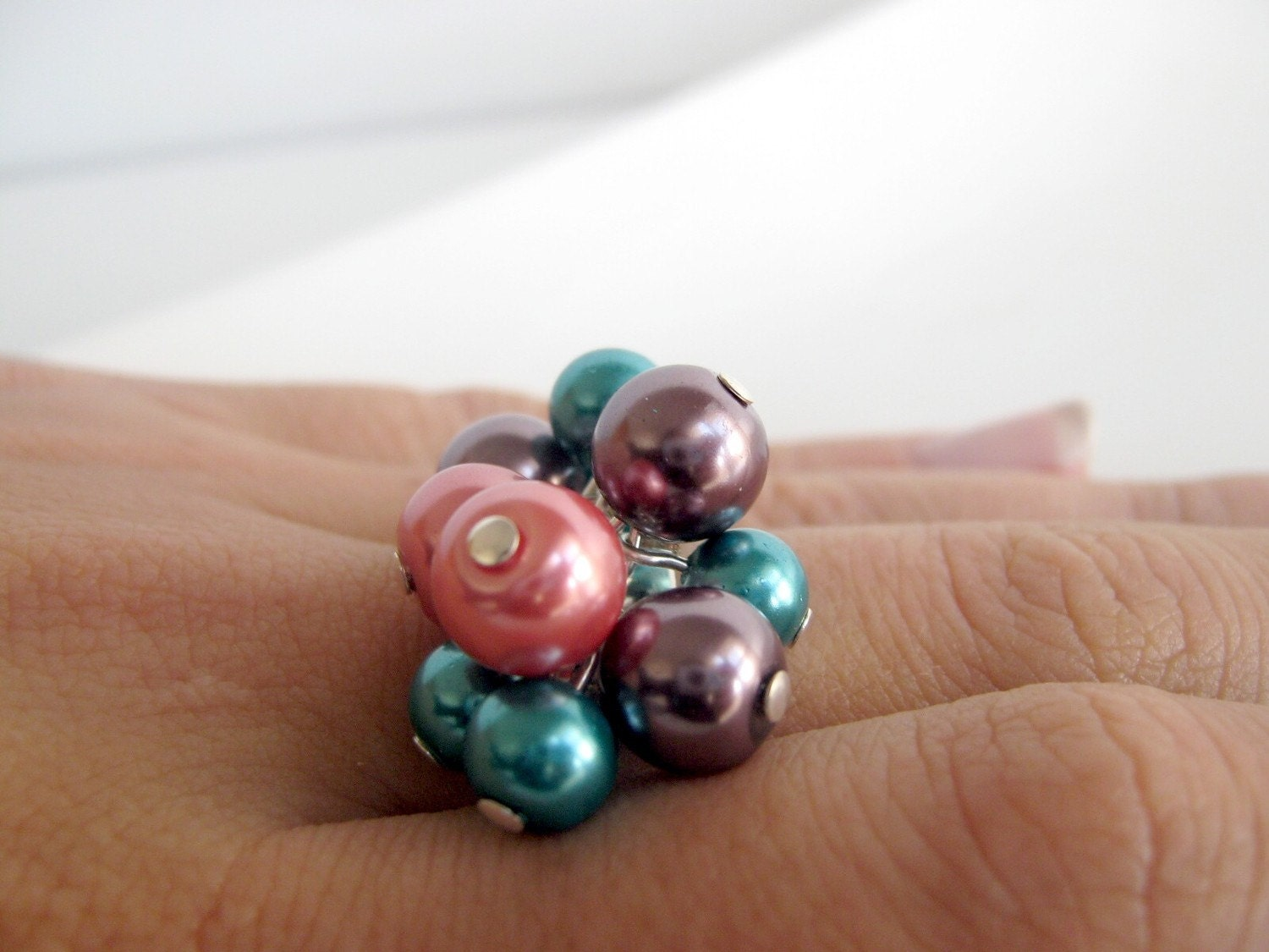 Berry cluster ring - in blue, pink, and purple