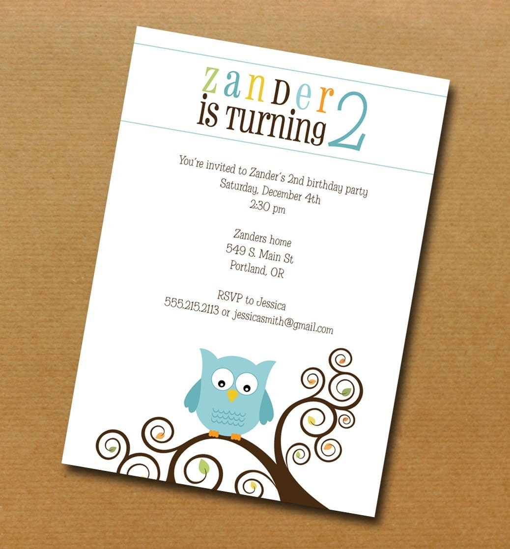owl theme birthday or baby shower invitation