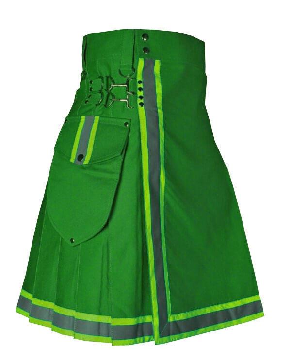 Green stylish firefighter kilt made to order utility kilt for mens and women