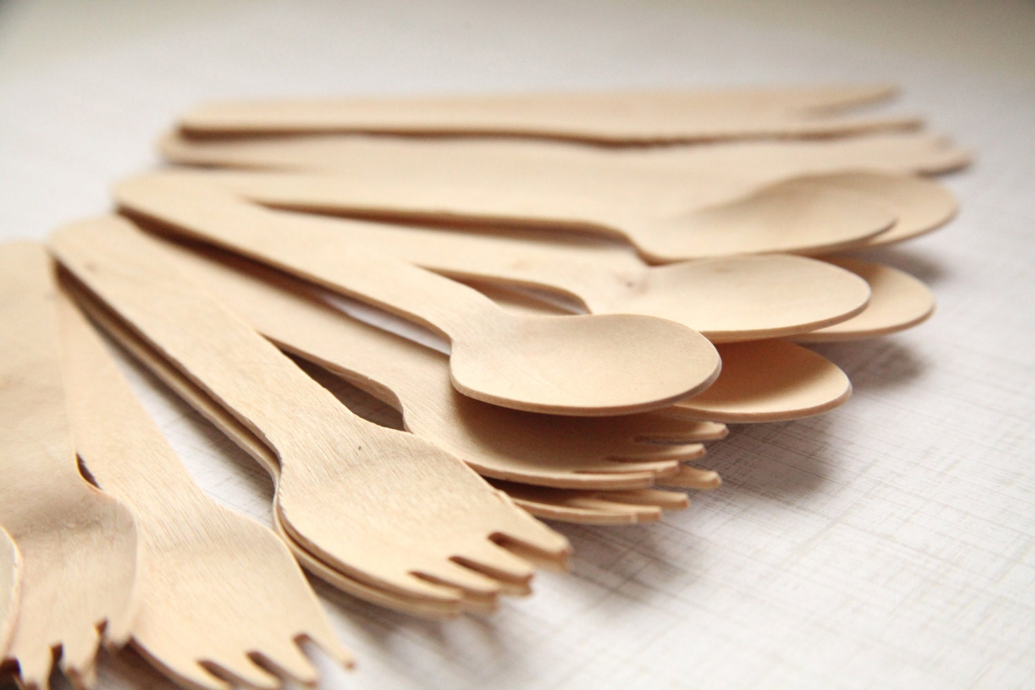 Party Set (75) Eco-Friendly Wooden SPOONS, FORKS, KNIVES  (25 each) - Disposable - Handmade Wedding // Birthday // Holiday // Craft Party