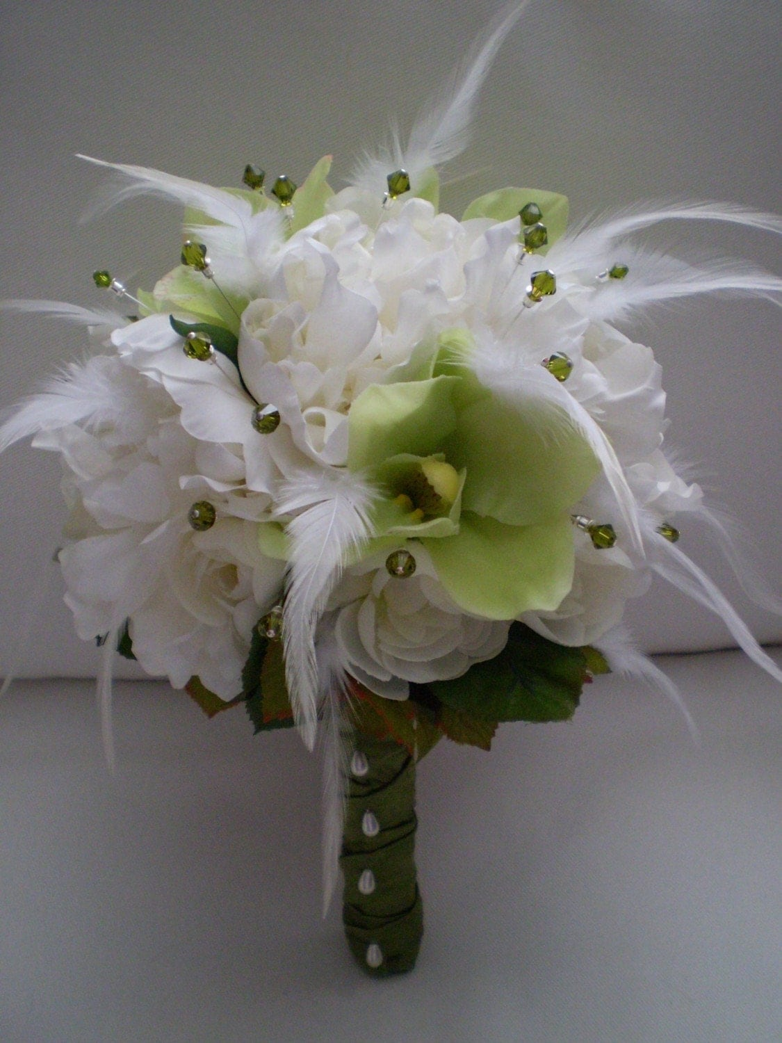 Wedding Bouquets With Feathers And Crystals : Limecello wedding bouquet with feathers and crystals by