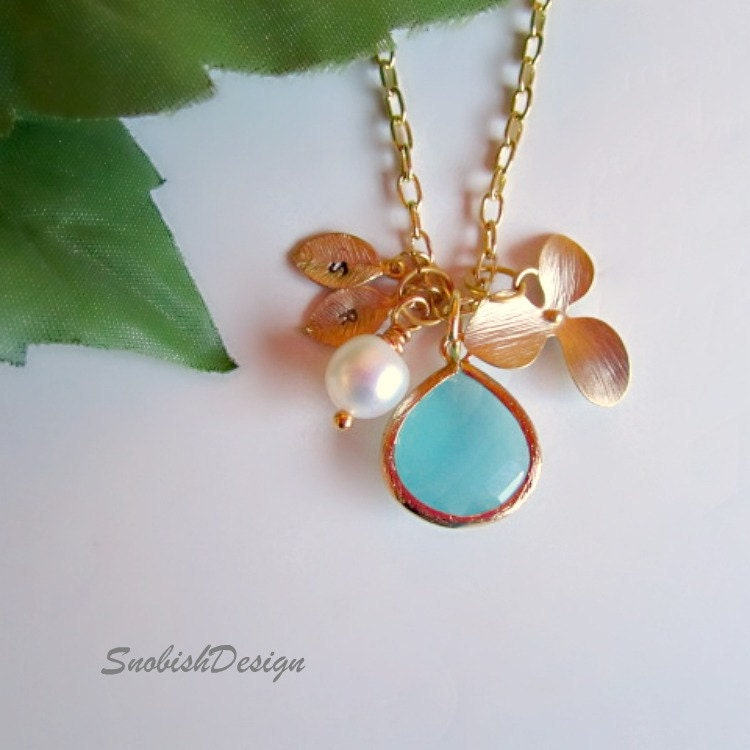 Personalized Jewelry Initial Necklace Aquamarine by SnobishDesign