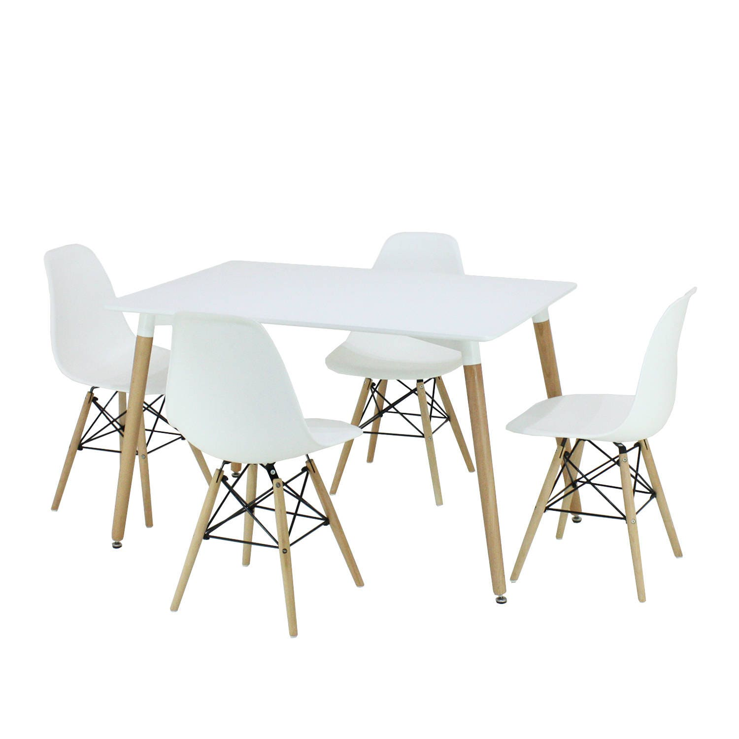 PN Homewares Dining Table White and Set of 4 White EAMES DSW Style Chair design  Moda Chair  Set Retro Modern Chairs Scandinavian  Style