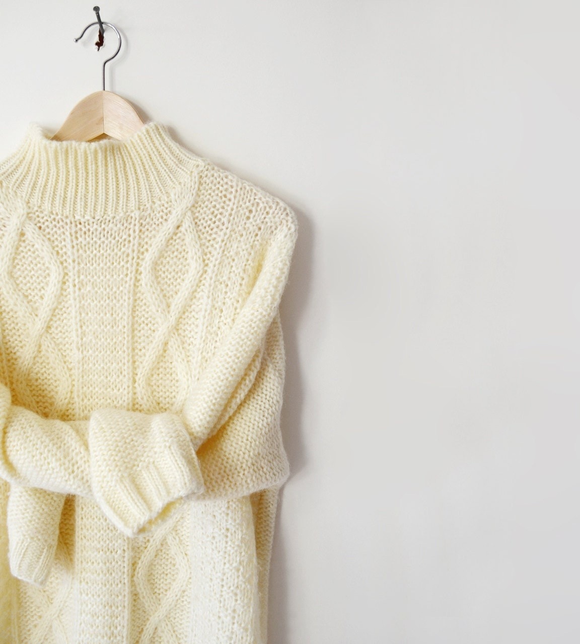 Cream Cable Knit Cardigan Sweater Grey