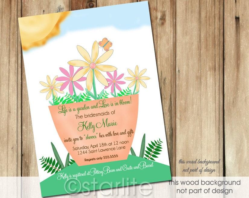 Flower Garden Themed Bridal Shower : Bridal shower invitation garden blooms flowers by starwedd