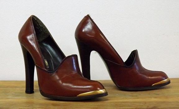 fred braun high heel leather pumps. Black Bedroom Furniture Sets. Home Design Ideas