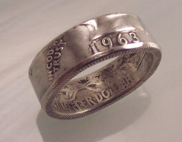silver coin ring 1963 size 7 washington quarter by