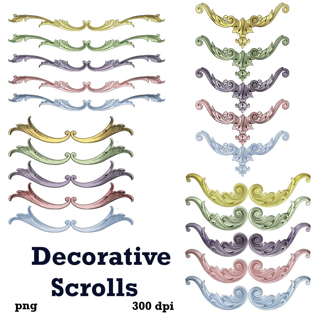 Clip art decorative scroll embellishments by graphicexpress for Decorative scrollwork