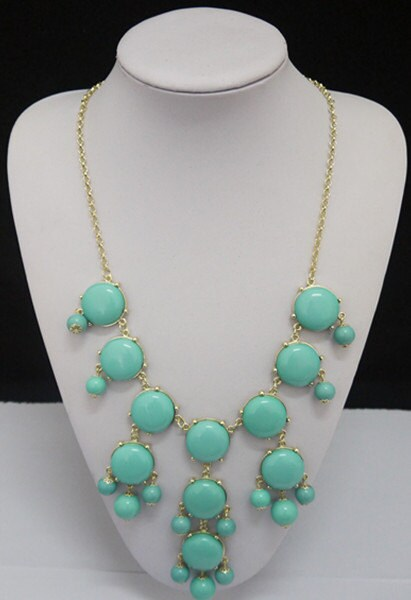 Green necklace turquoise necklace, eBib Necklace, Statement Necklace, Lake Blue Necklace, Bubble Necklace, Wedding Necklace