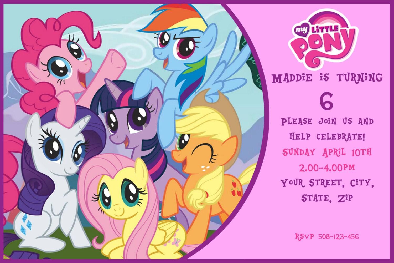 Tarjetas invitación cumpleaños My Little Pony - Imagui