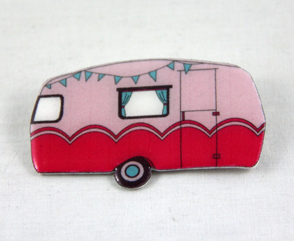 Retro Caravan Brooch - Pink - Made to Order