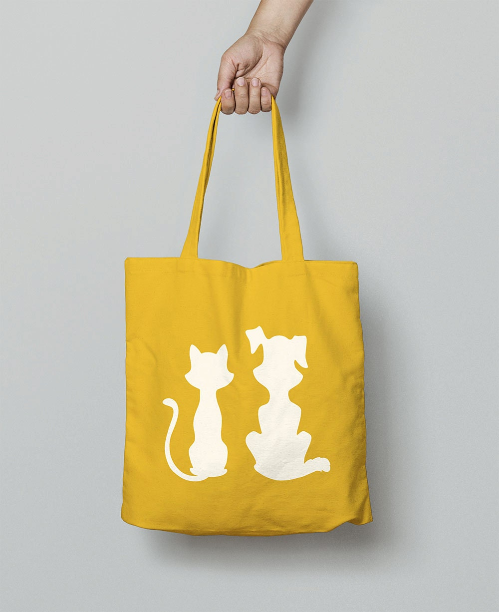 Shopping Bag  Cat And Dog Tote Bag  Canvas Bag  Shoulder Bag  Canvas Tote Bag  Christmas Gift For Girlfriend  Animal Gift Women  Cats