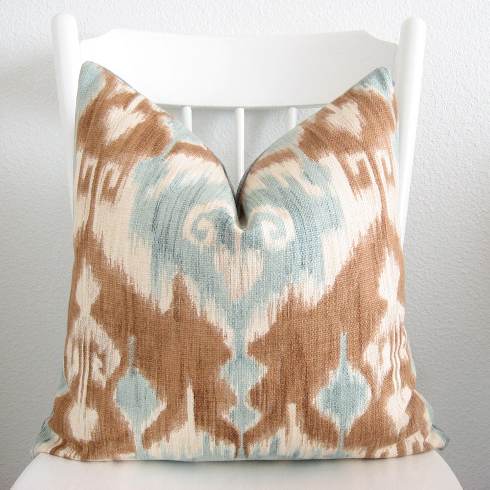 Light Blue And Brown Ikat Pillows