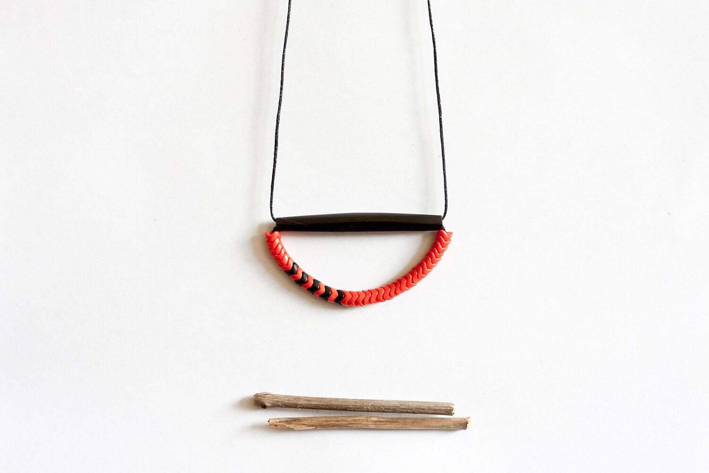 geometric, tribal, black bone, black and dark orange czech beads, black rope, long, beaded necklace - nanoukiko