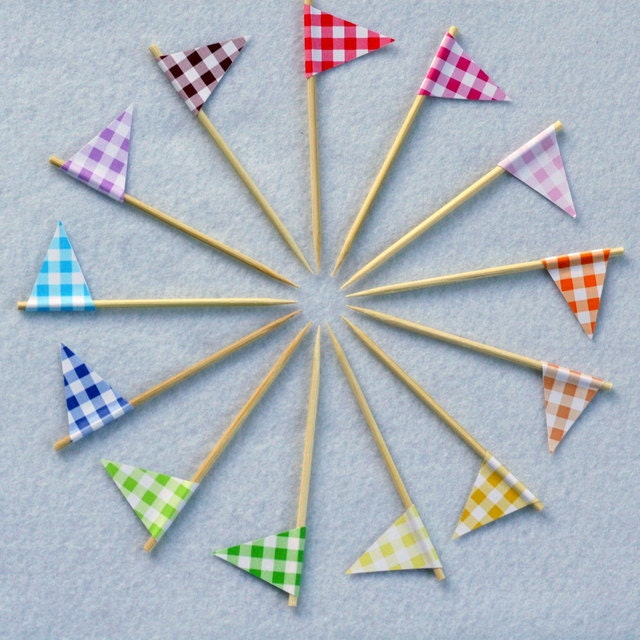 Cupcake Flags Gingham Picnic Your Choice of Colors Set of 24 - FeltLikeCelebrating