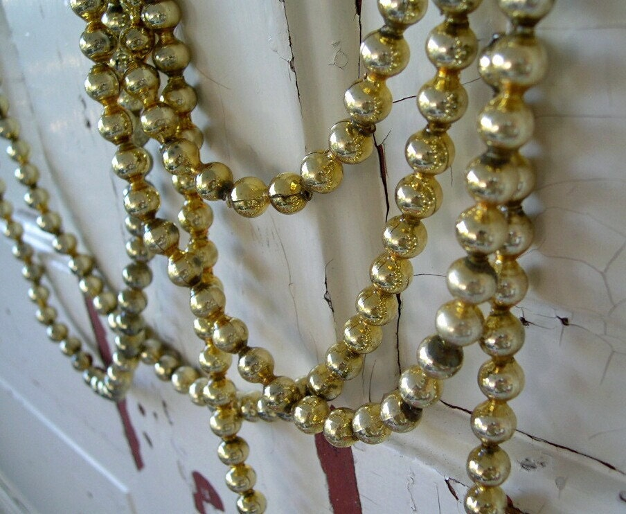 vintage gold glass bead tree garland by
