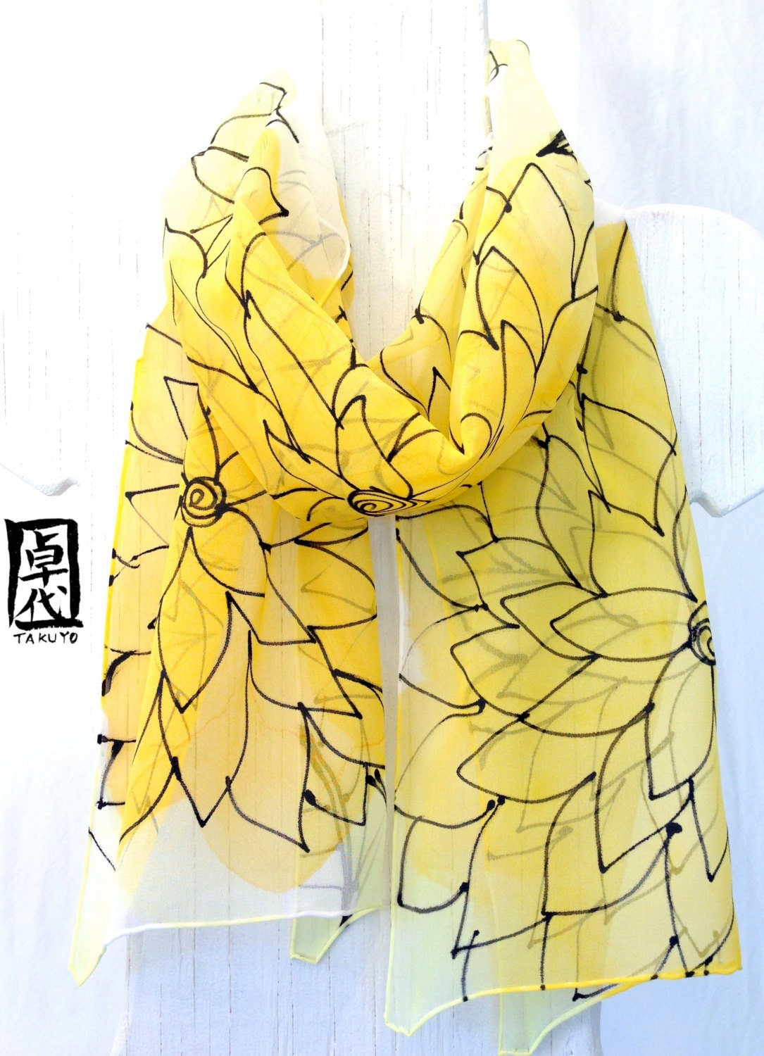 Yellow Silk Scarf Hand Painted, Sunny Yellow Floral Scarf. Black Line Drawing. Silk Chiffon Scarf. 10x54 in. Made to order. - SilkScarvesTakuyo