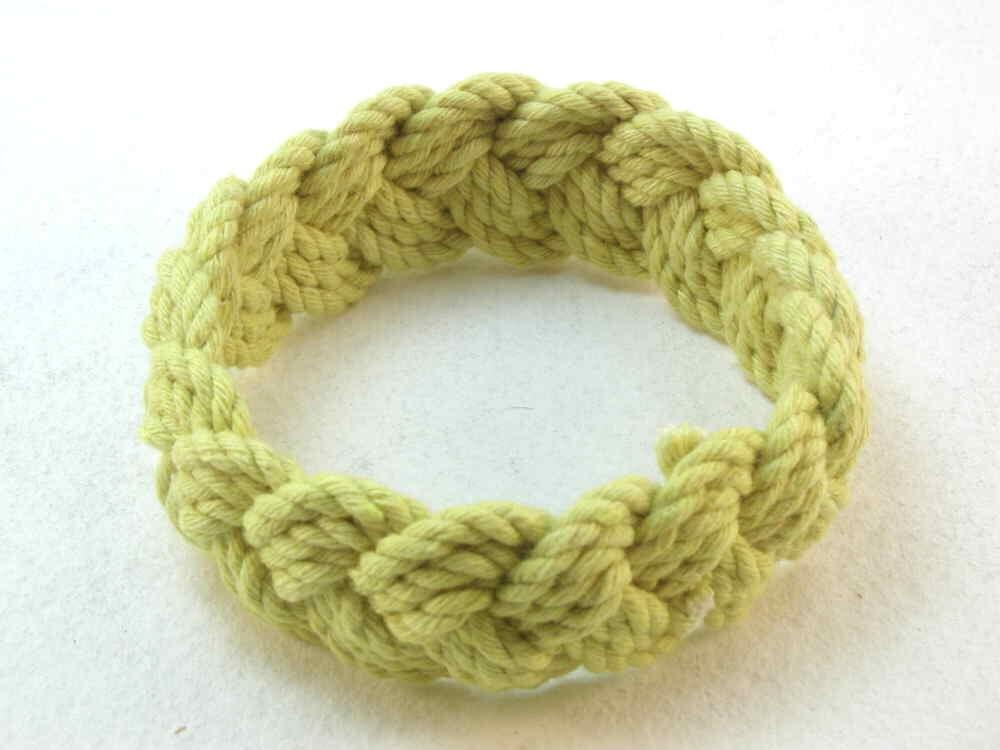 pale lemon yellow cotton turks head knot rope bracelet medium 2099