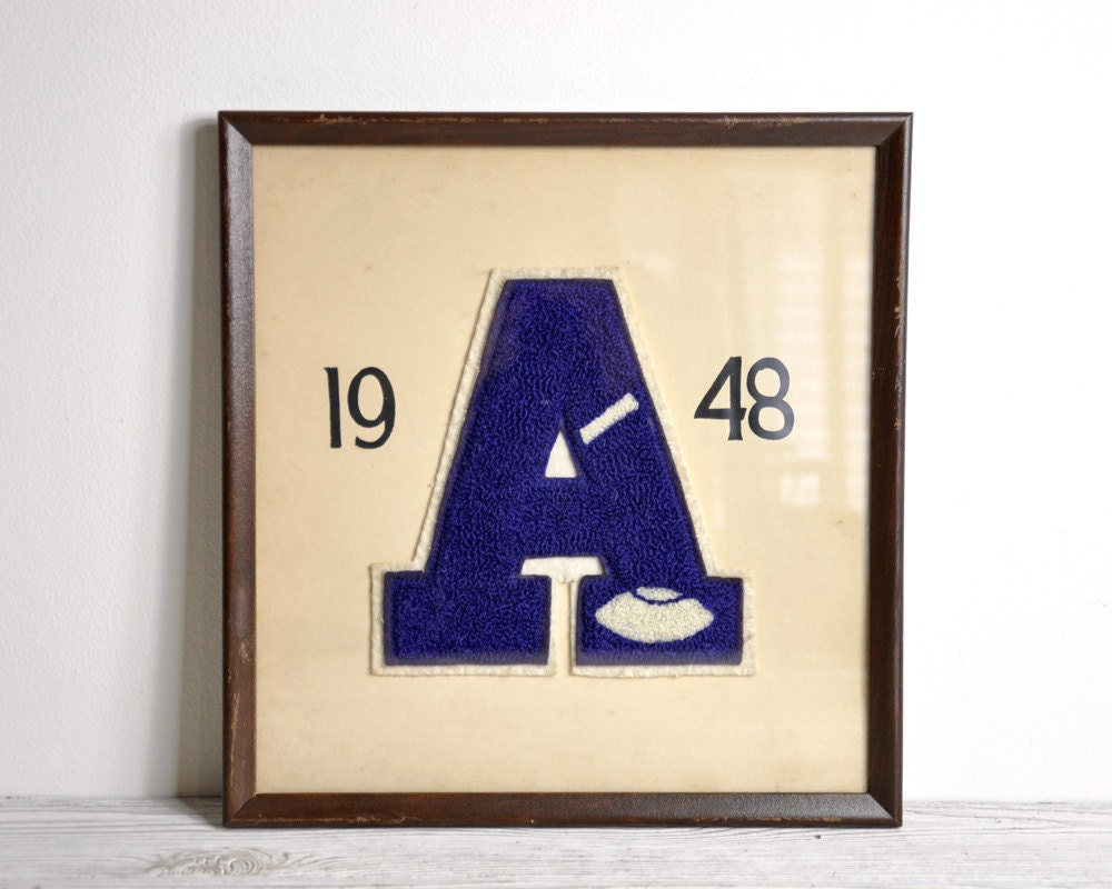 Vintage Letters Wall Decor : Vintage framed varsity letter a wall decor by havenvintage