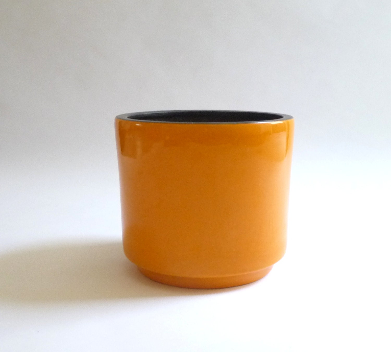 Vintage 1970s Orange Ceramic Planter