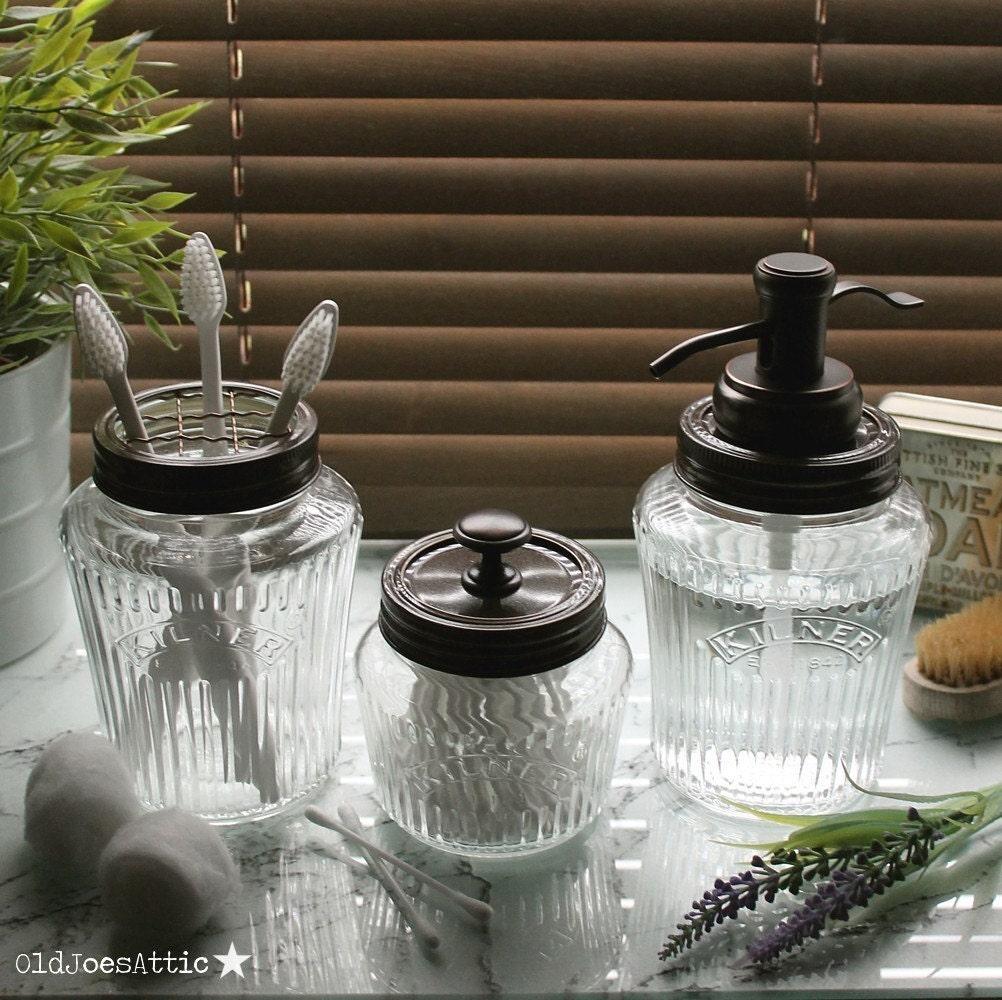 Kilner Vintage Glass Preserve Jar Bathroom Set with Bronze Water Well Dispenser Toothbrush Holder  Storage Jar UK SELLER