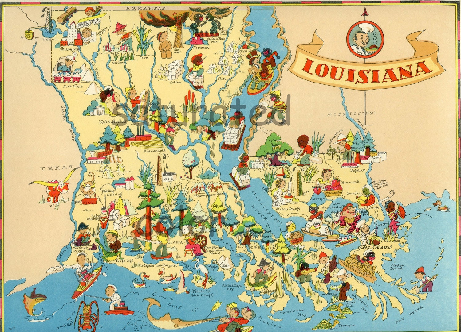 louisiana maps with Louisiana Map Original Vintage 1930s on Oklahoma City Location On The Us Map in addition 9507682 furthermore Location in addition Los Angeles Geology Maps as well 1365 Zoo Map.