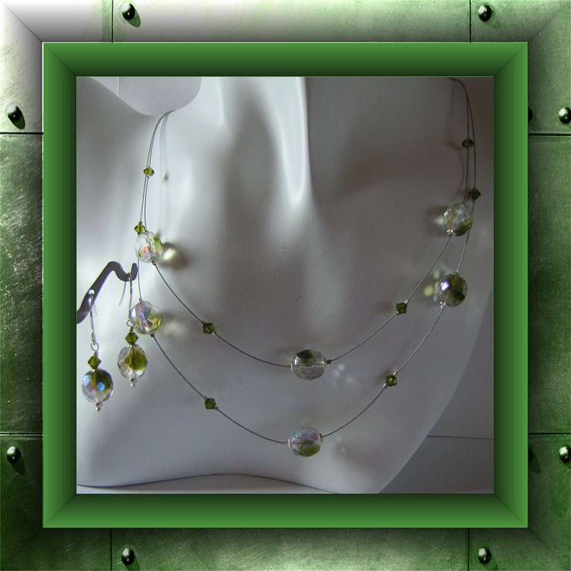 Peridot Green Necklace Beaded 2 strand (Illusion) magnetic clasp