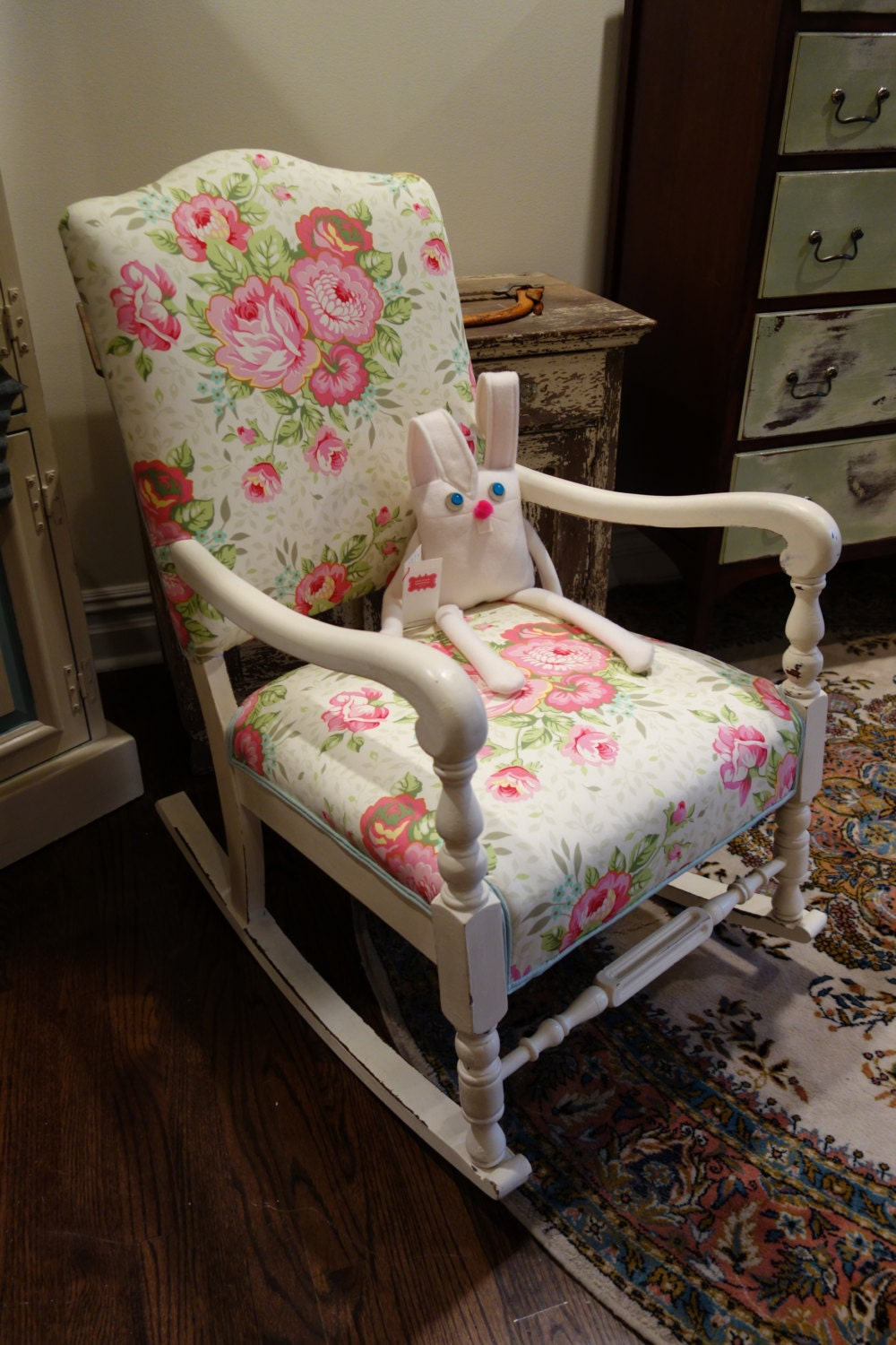 antique . rocking chair . upholstered seating . secret garden ...