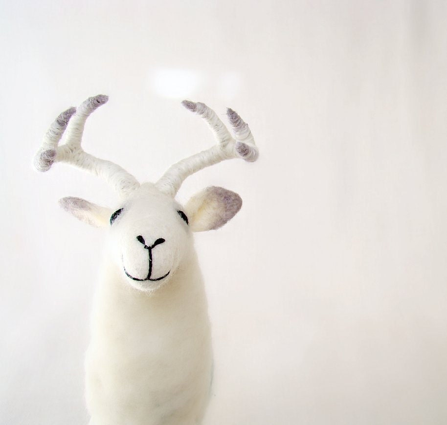 White Torsten - Felt  Deer.  Art Puppet Marionette Stuffed Animal Felted Toy. white neutral natural pastel.  MADE TO ORDER