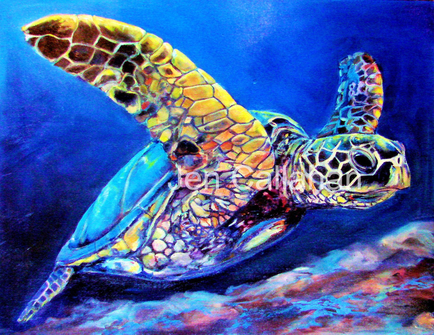 Unavailable listing on etsy for Turtle fish paint