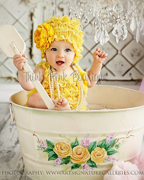 Yellow petti lace romper- lace petti romper with straps-lace romper-MANY COLORS to choose from in our store - ThinkPinkBows