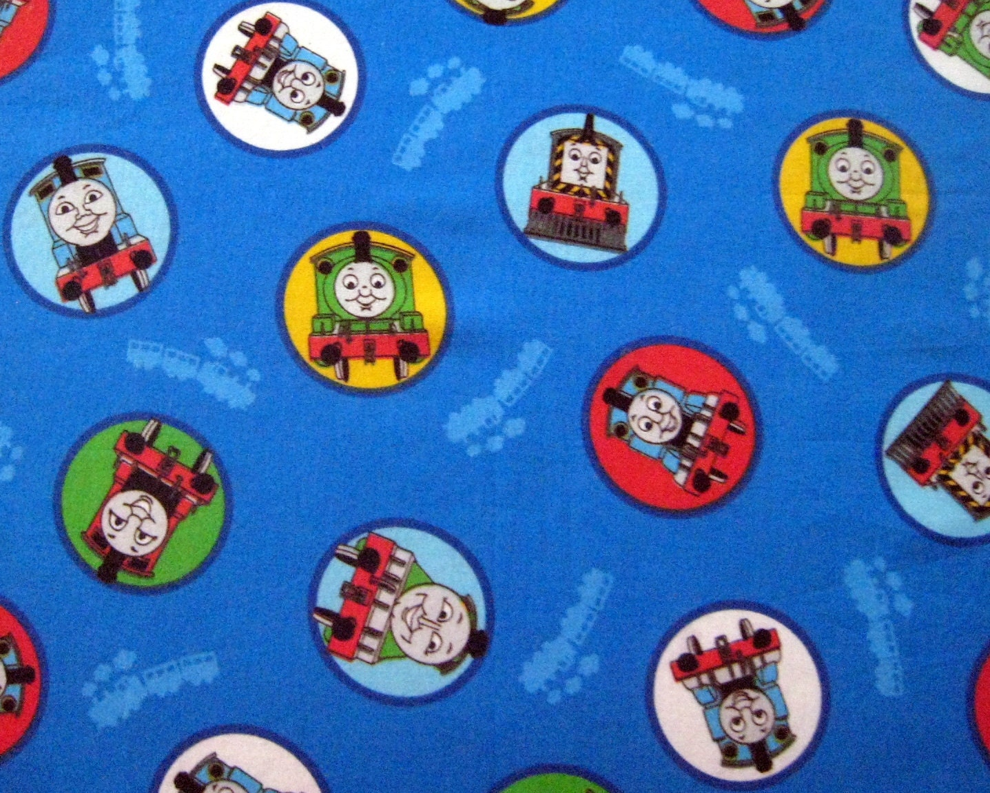 Thomas the tank engine train cotton fabric by for Train fabric by the yard