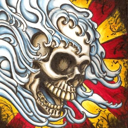 Tattoo Japanese style skull Kamikazi 8x8 archival print