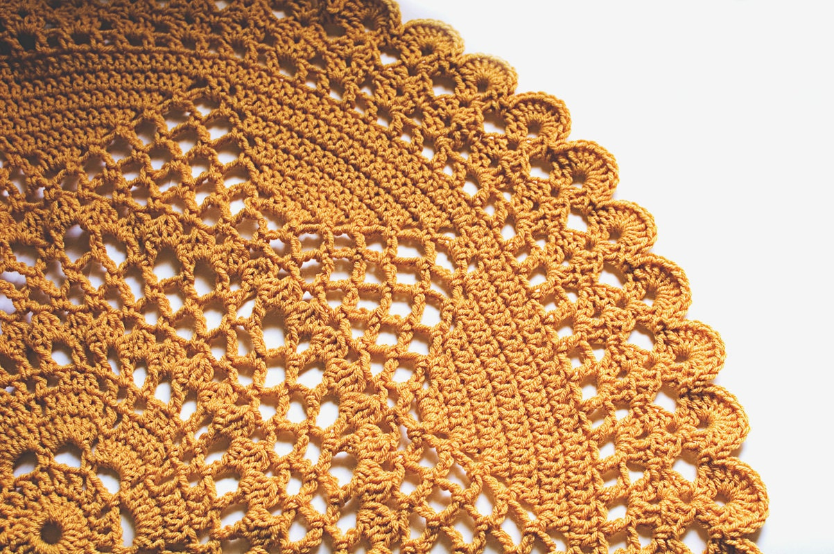 Crocheted Doily Blanket in Gold