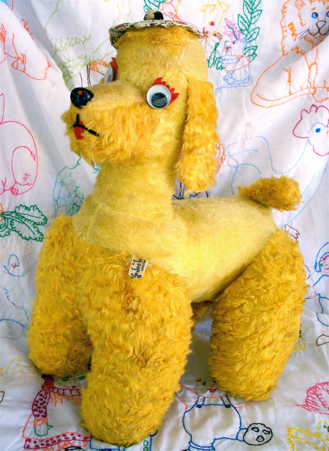"""Vintage  Kitsch Jee Bee Creations 17"""" Yellow Googly Eyed French Poodle with  Squeak Tail"""