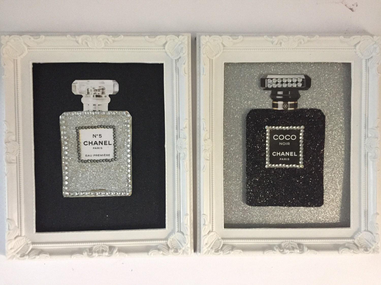 Glitter Diamante Chanel Perfume Wall Art Print In Shabby Chic Frame