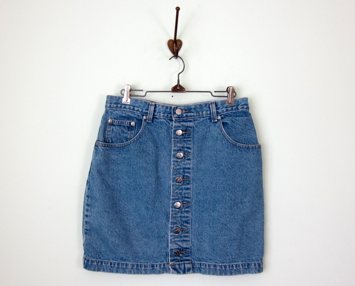 80s skirt denim blue jean faded button front by