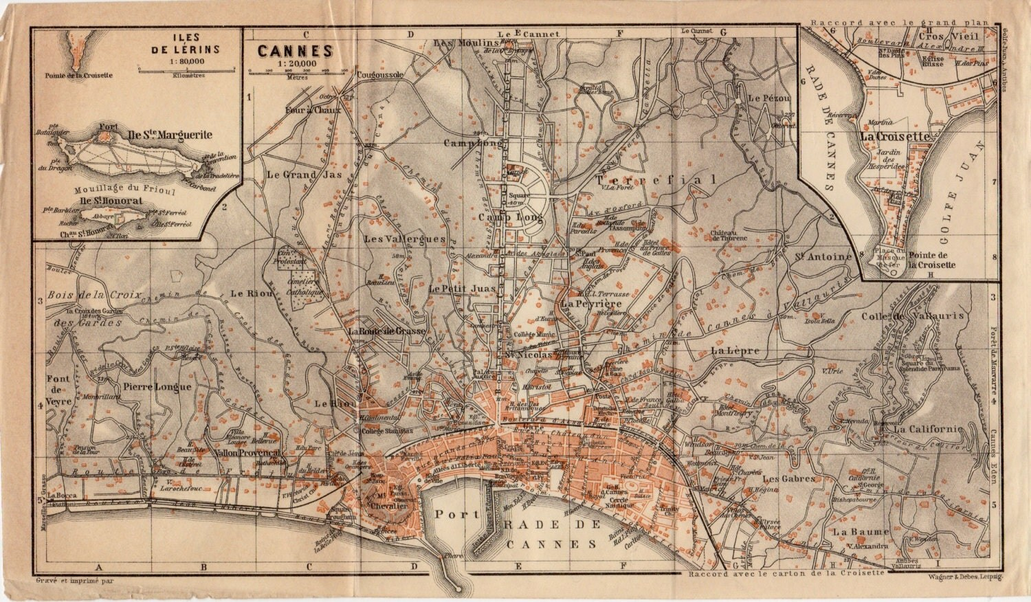1914 Cannes, France, Alpes-Maritimes Department, Cannes City Map, Provence-Alpes-Côte d'Azur Region, Iles de Lérins, La Croisette - Craftissimo