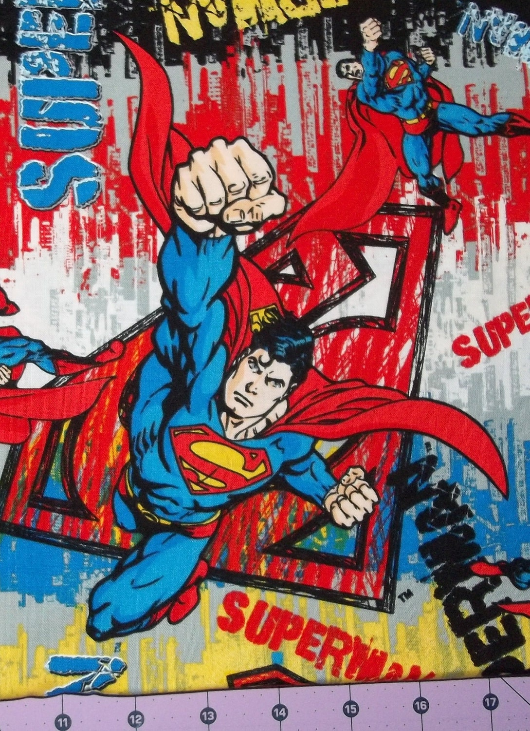 Superman Graffiti Fabric By The Yard FBTY by CutiePieCraftSupply