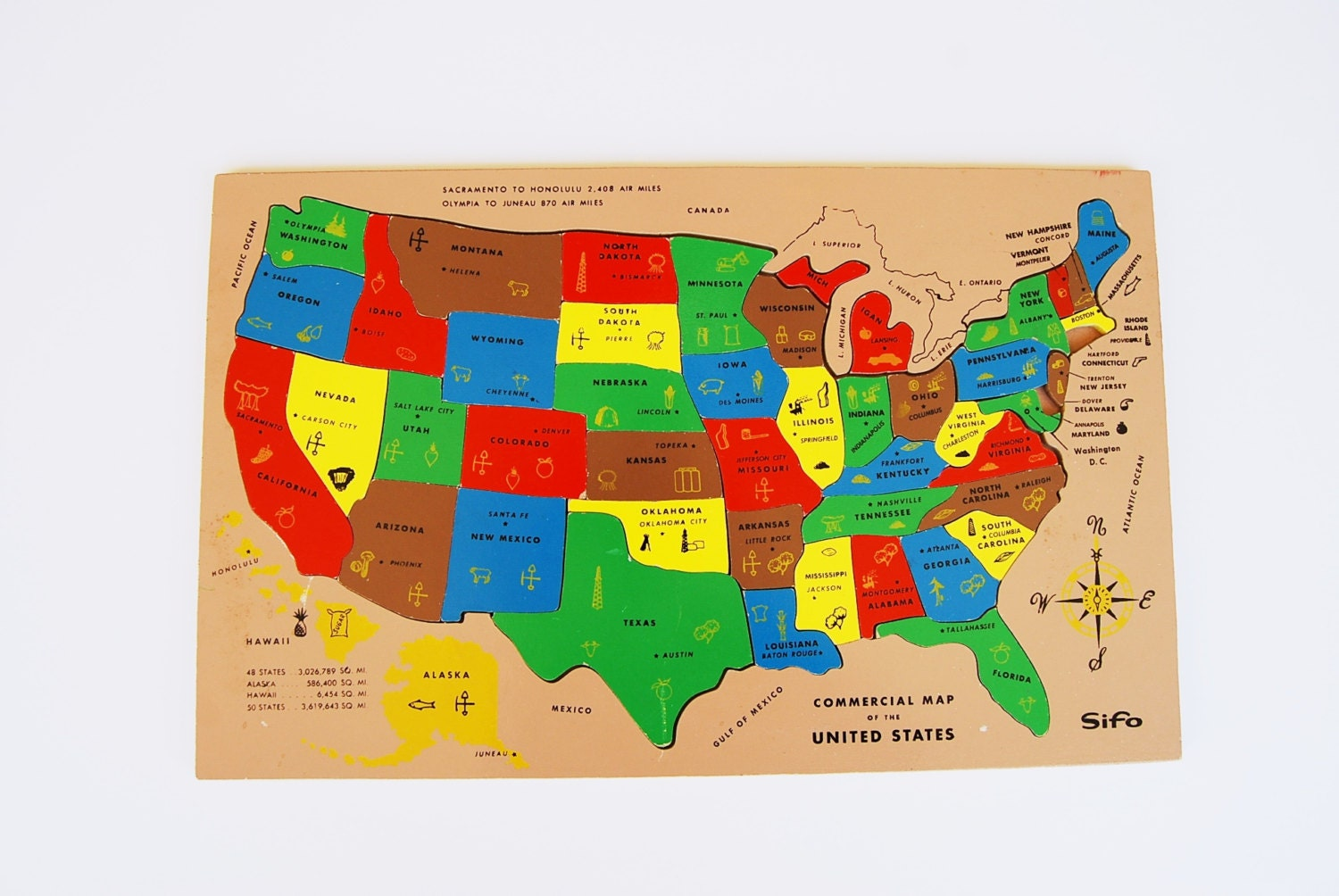 Vintage 1960s Sifo United States Map Wood Puzzle Toy