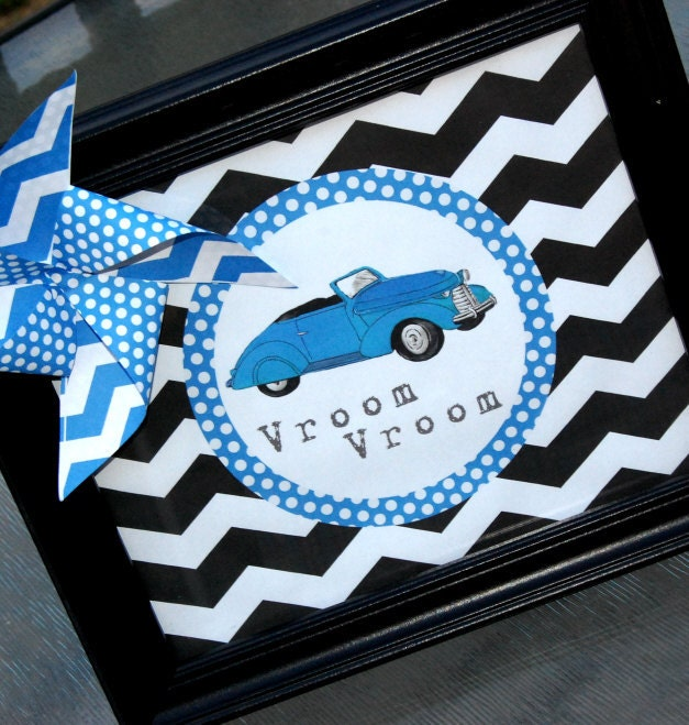 Vintage Blue Car Decorations for Birthday Party or Baby Shower - Boys ...
