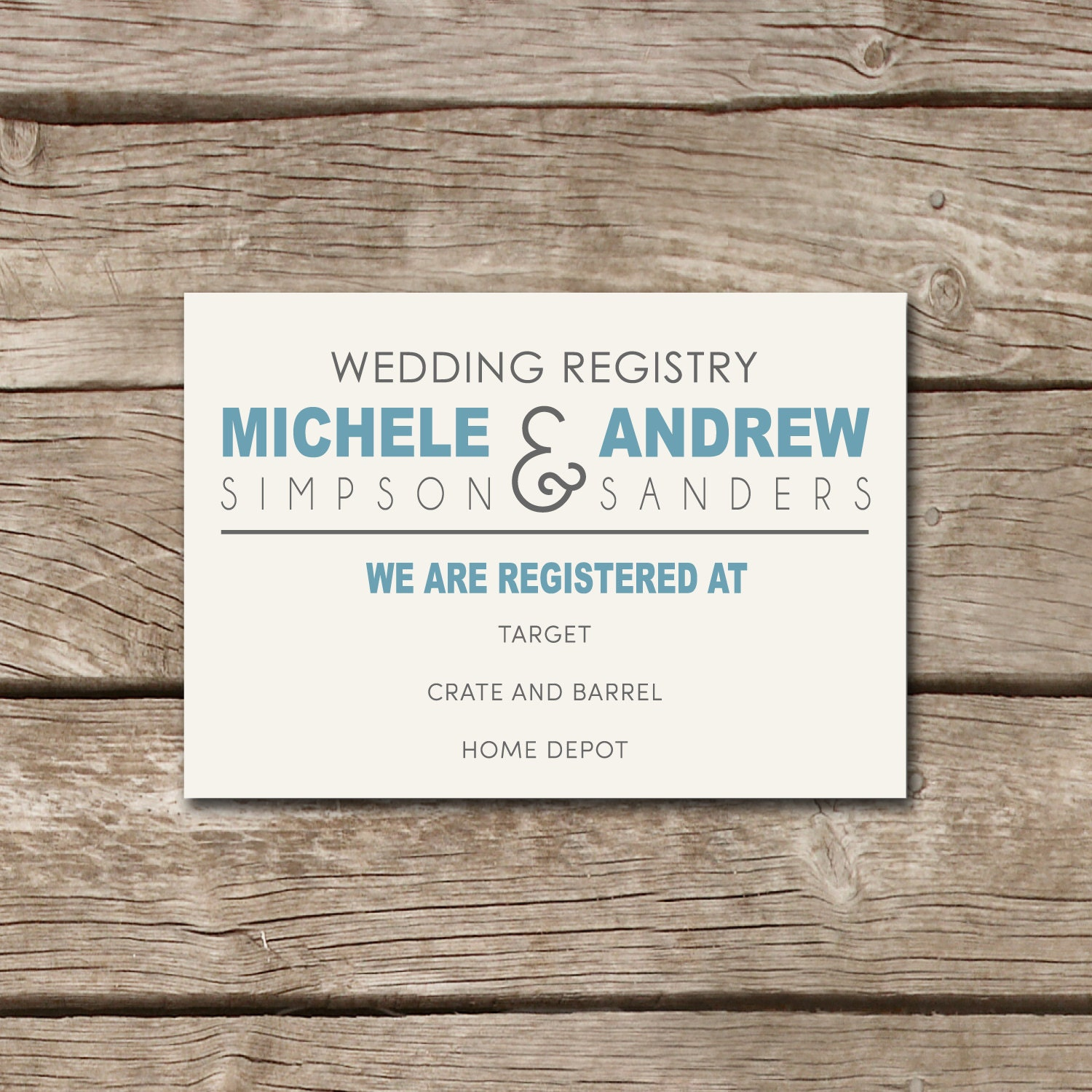 Rustic country state wedding registry card for Good wedding registry items